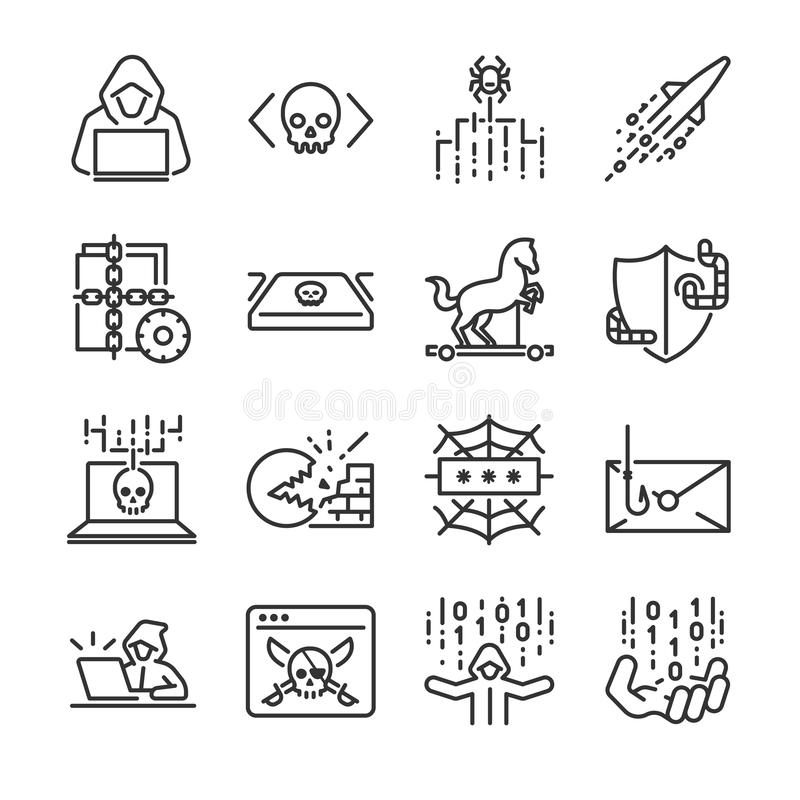 Hacker icon set. Included the icons as hacking, malware, worm, spyware, computer virus, criminal and more. vector illustration