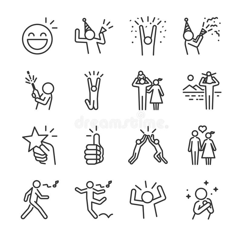 Happy line icon set. Included the icons as fun, enjoy, party, good mood, celebrate, success and more. Line icon vector: Happy line icon set. Included the icons royalty free illustration
