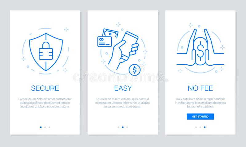 Onboarding payment app screens Modern and simplified vector illustration walkthrough screens. UI template for mobile app. Line icon vector: Onboarding payment stock illustration