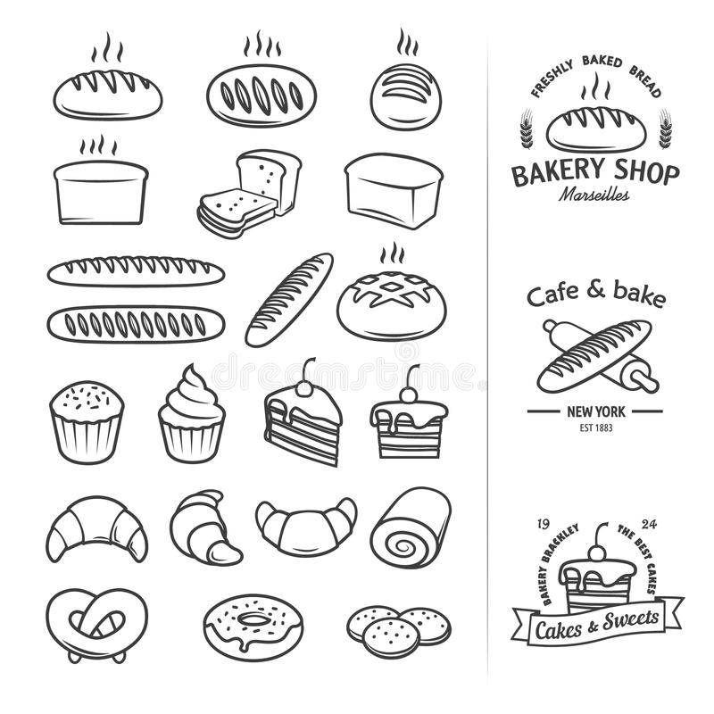 Line icons of bread and other products from which you can create a cool vintage logo for groceries, bakeries, cakery, shops vector illustration
