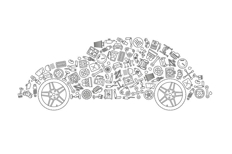 Car parts and services icons in vintage car shape vector illustration