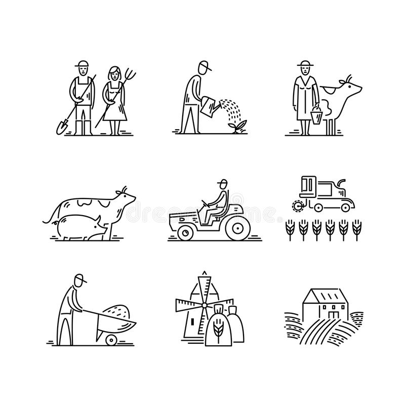Line icons farming and agriculture Agronomy symbols, people, animals, farm field, agricultural equipment, tractor royalty free illustration