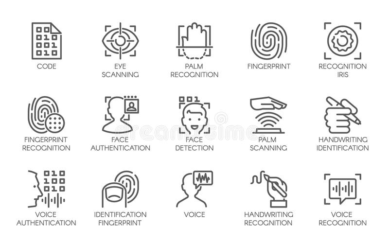 Line icons of identity biometric verification. Sign. 15 web label of authentication technology in mobile phones, smartphones and other devices. Vector logo or royalty free illustration