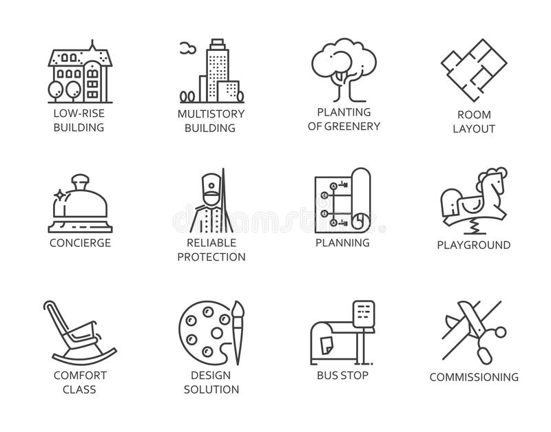 Line Icons Of Real Estate Outline Symbols Of City Infrastructure