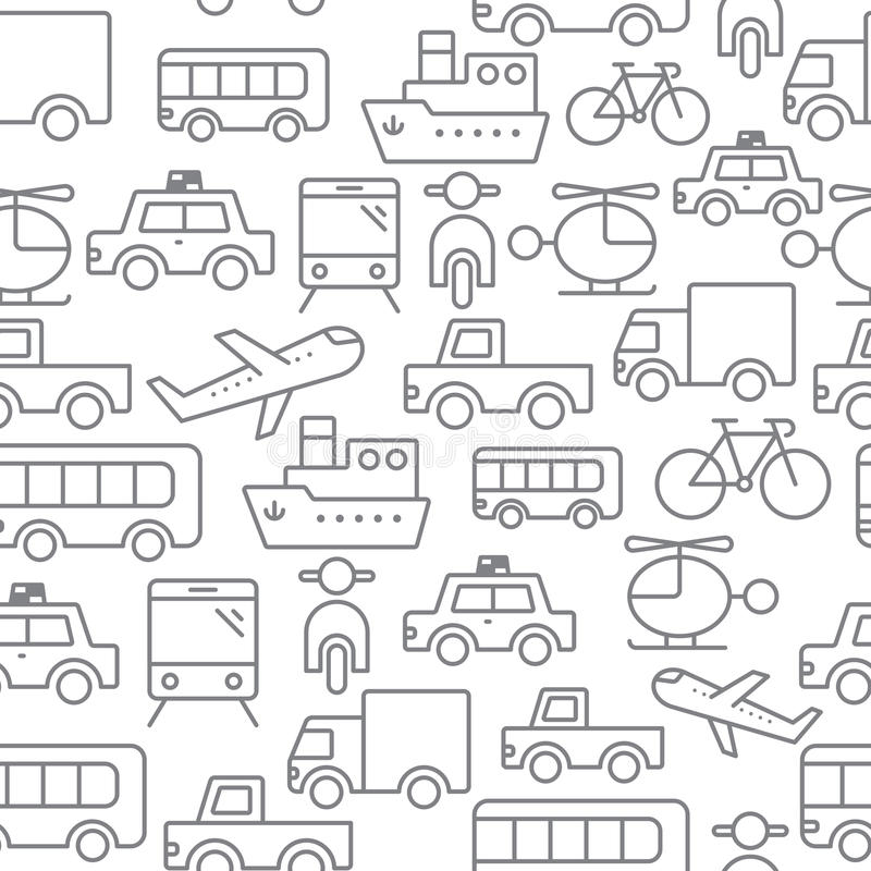 Line icons seamless pattern, Transport royalty free illustration