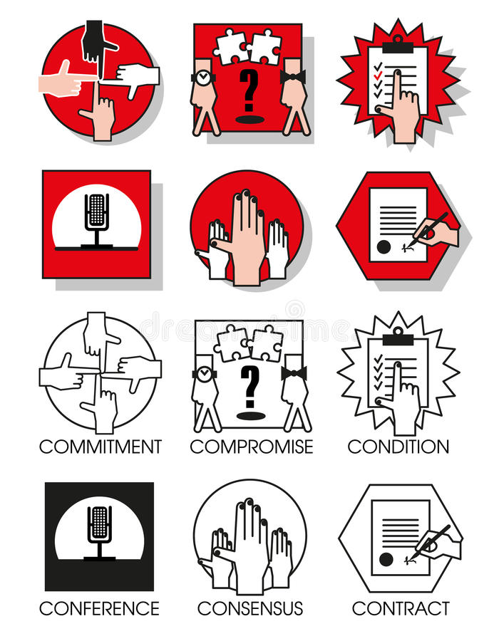 Line icons set of the agreements and meetings. Line icons set with flat design elements of business people of the agreements and meetings. Modern vector stock illustration