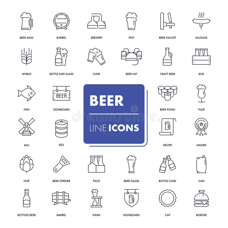 Free Line Icons Set. Beer Stock Photography - 101324842