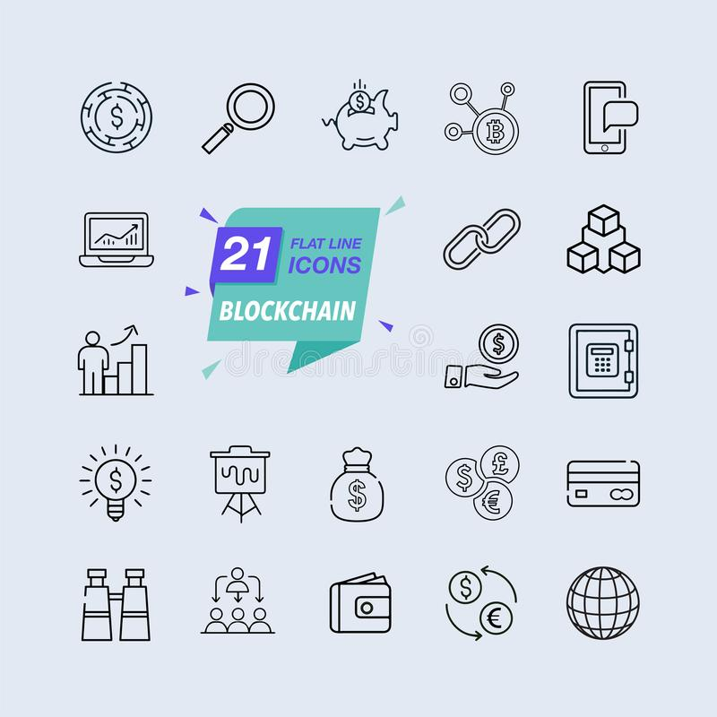 Line icons set. Blockchain pack. Vector illustration. Vector illustration with elements for crypto technology. stock illustration