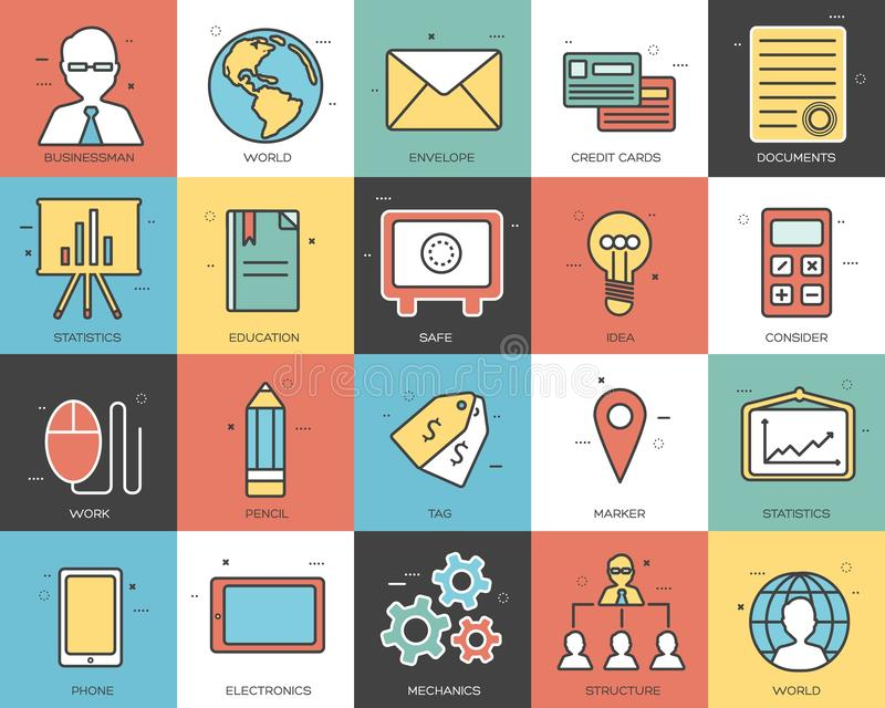 Line icons set of business collection concept. Modern vector pictogram with flat design elements vector illustration