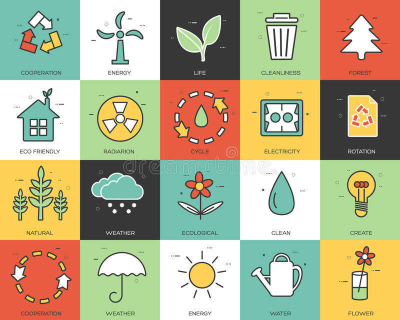 Line icons set of eco collection concept. Modern vector pictogram with flat design elements design. Line icons set of eco collection concept. Modern vector vector illustration