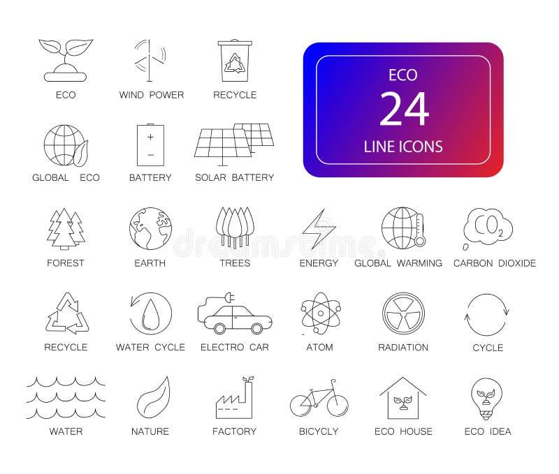 Line icons set. Eco pack. royalty free illustration