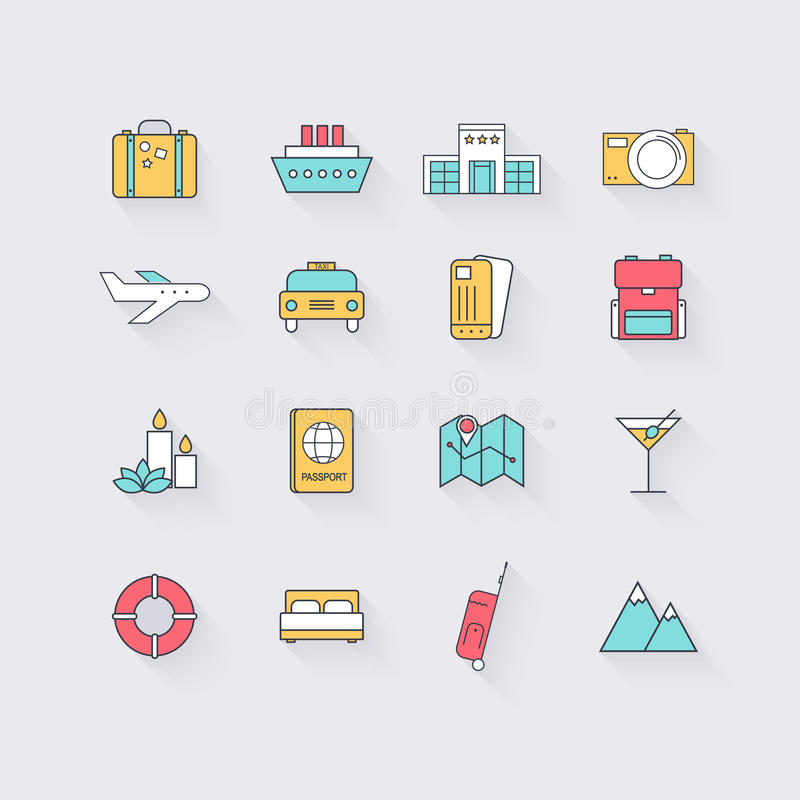 Line icons set in flat design. Elements of Vacation, Travel, Hot. El services, Transport and Location. Modern infographic linear vector illustration stock illustration