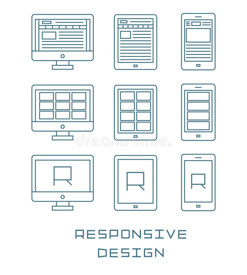 Line icons set flat design responsive web development service, website webpage user interface on different devices stock illustration