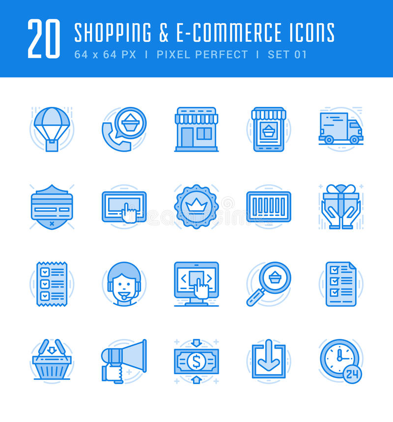 Line icons set. Flat thin linear stroke vector Shopping concepts vector illustration