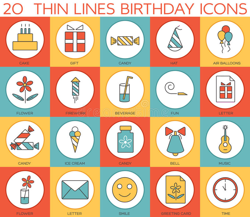 Line icons set of happy birthday collection concept. Modern vector pictogram with flat design elements design. Line icons set of happy birthday collection stock illustration