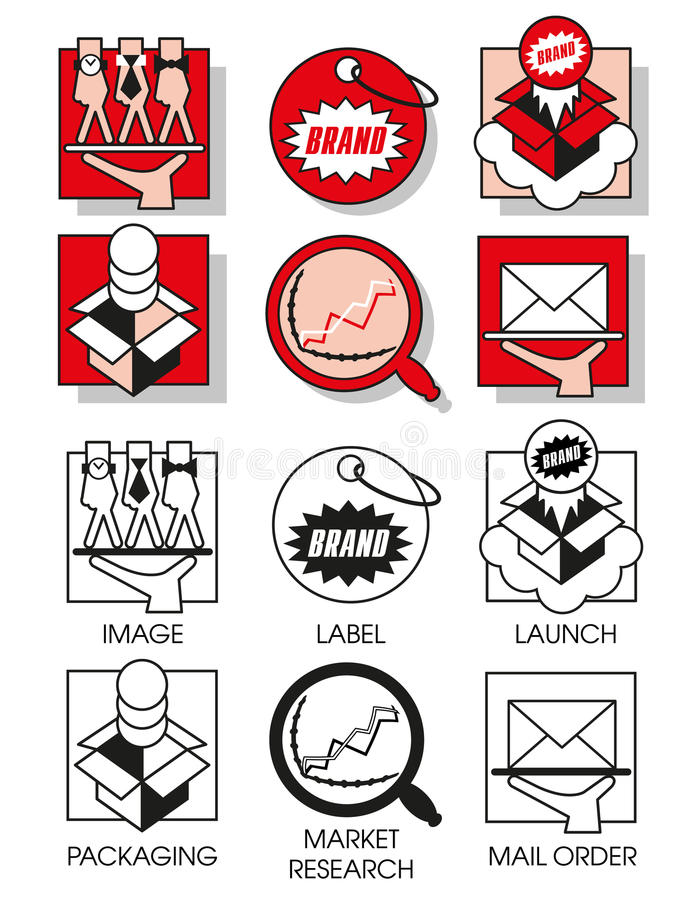 Line icons set with of marketing and distribution vector illustration