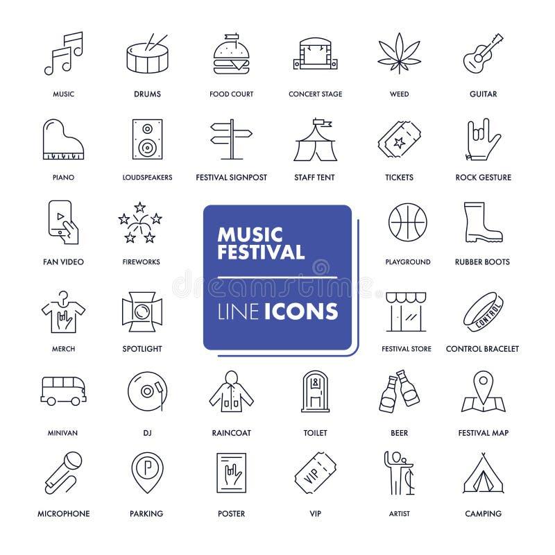 Line icons set. Music festival stock illustration