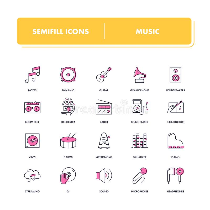 Line icons set. Music. Pack. Vector illustration with musical instruments, tools and devices royalty free illustration