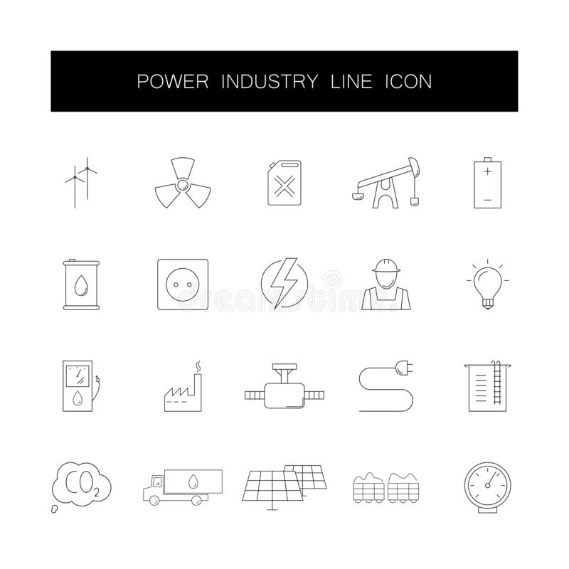 Line icons set. Power industry pack. Vector illustration royalty free illustration