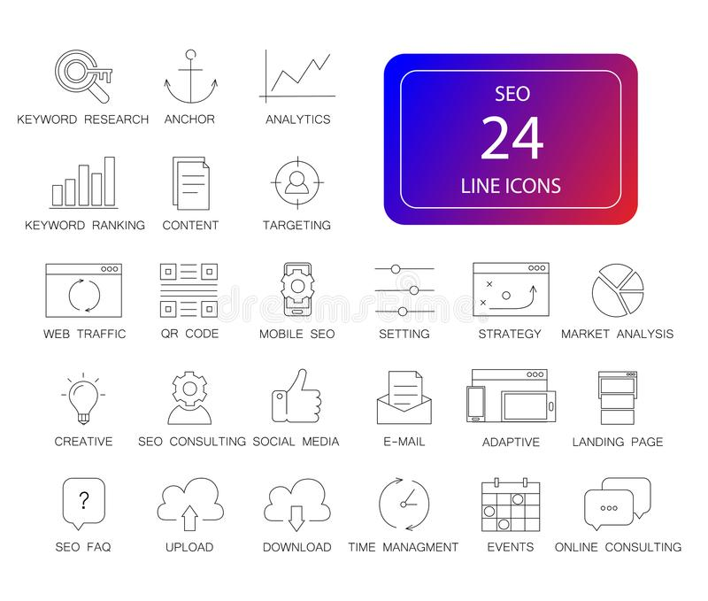 Line icons set. Seo pack. vector illustration