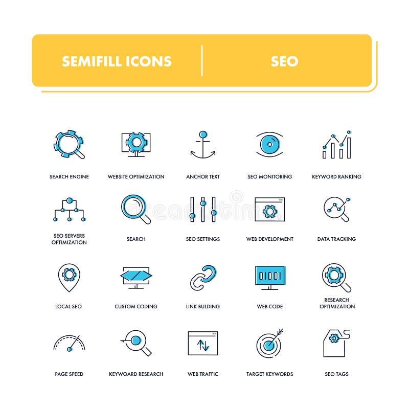 Line icons set. Seo royalty free illustration
