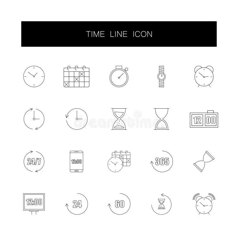 Line icons set. Time pack. Vector illustration stock illustration
