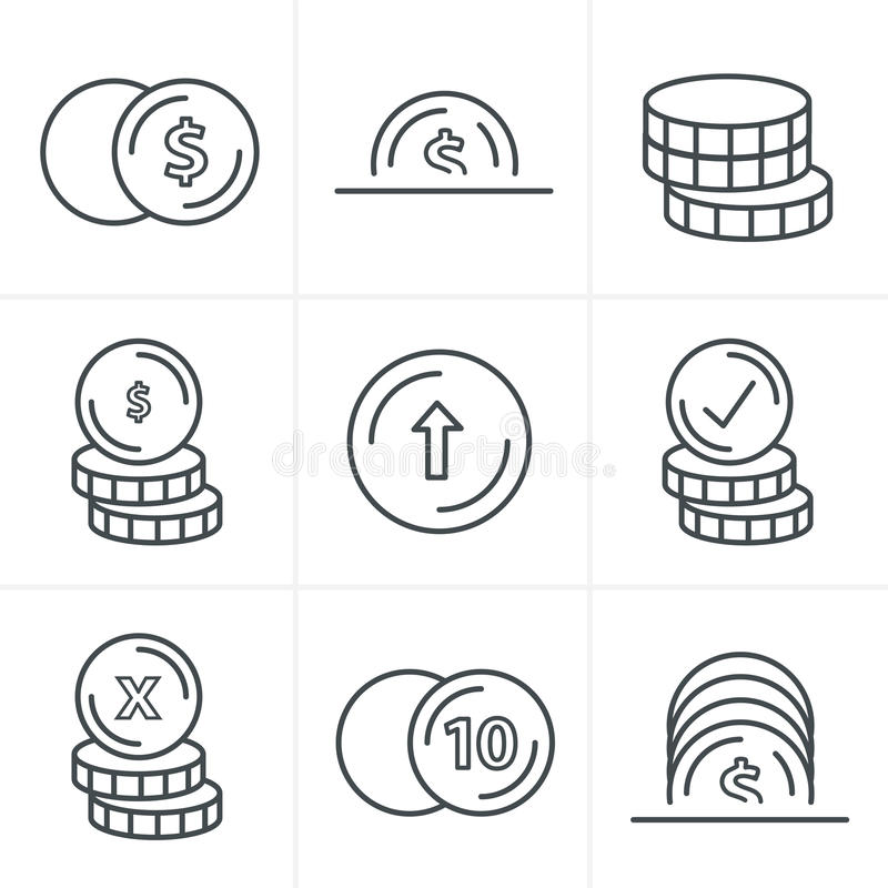 Line Icons Style Coins Icons Set royalty free stock photography