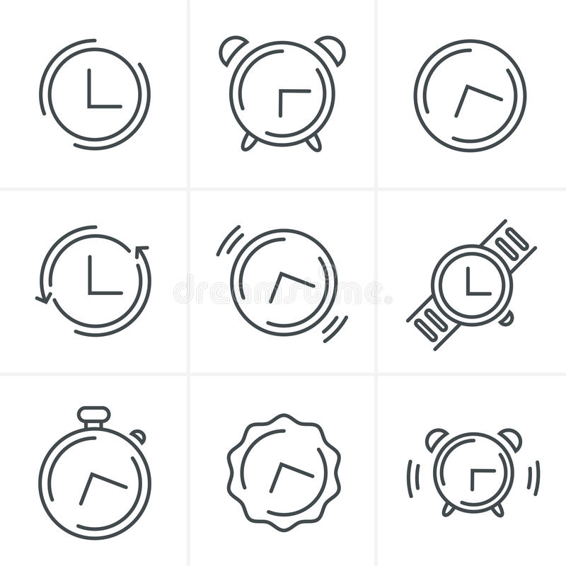 Line Icons Time Clock Icons Set, Vector Design. Time Clock Line Icons Set, icon vector design set and template royalty free illustration