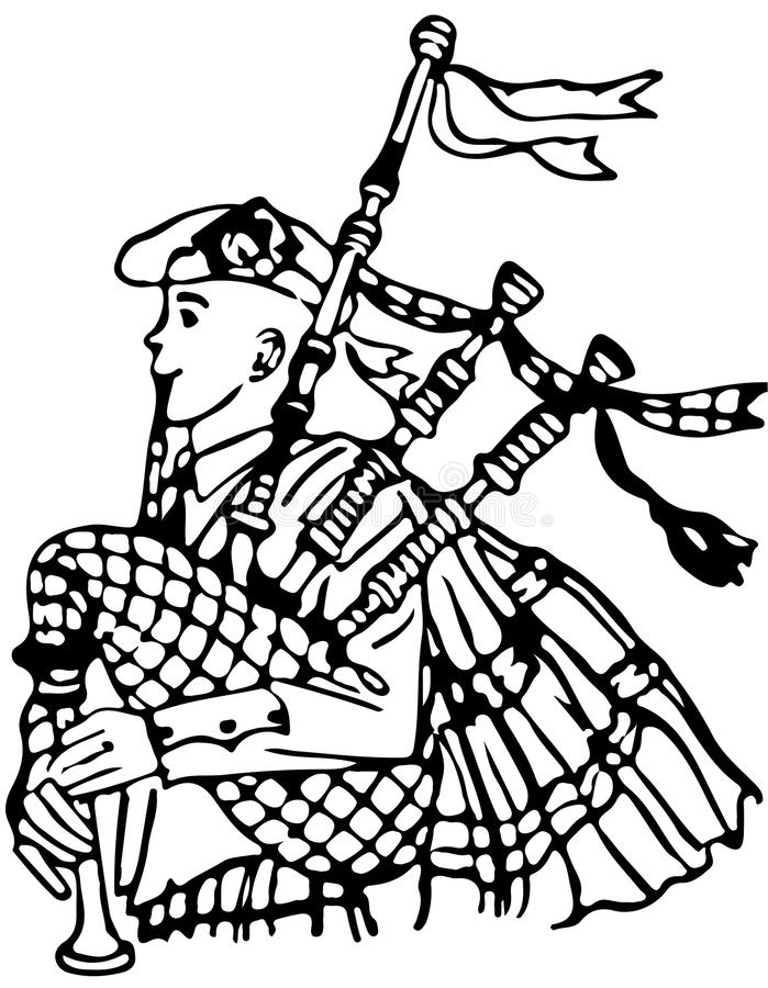 Download Line Illustration Of A Bagpipe Player /Eps Stock Vector - Illustration: 31749437