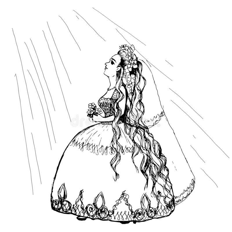 Bride with bouquet coloring page. Line illustration of caucasian bride with long hair full length holding bouquet in her arms and looking up. Bride standing in royalty free illustration