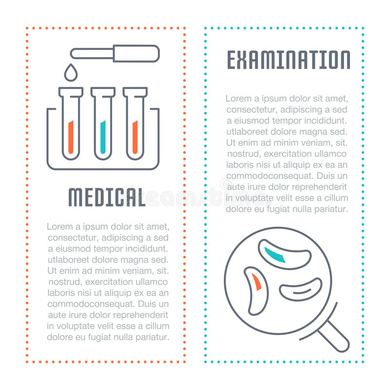Website Banner and Landing Page of Medical Examination. Line illustration of medical examination. Concept for web banners and printed materials. Template for stock illustration