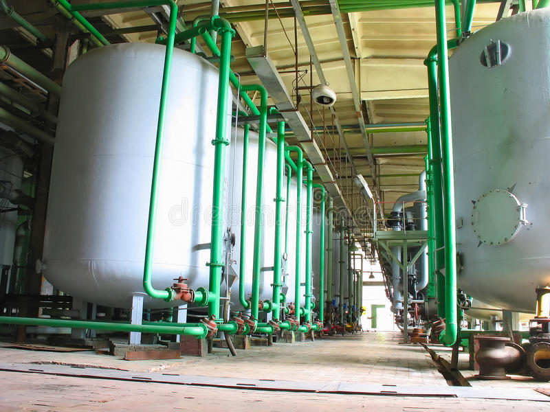 Download Line Of Industrial Chemical Tanks At Power Plant Stock Photo - Image: 10341112