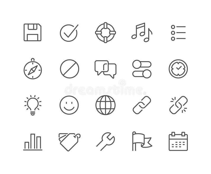 Line Interface Icons. Simple Set of Interface Related Vector Line Icons. Contains such Icons as Settings, Help, Media, Links, Tags and more. Editable Stroke stock illustration