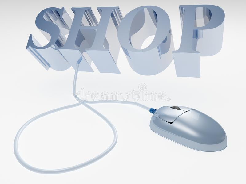 On-line Internet Shop Concept And Computer Mouse Royalty Free Stock Images