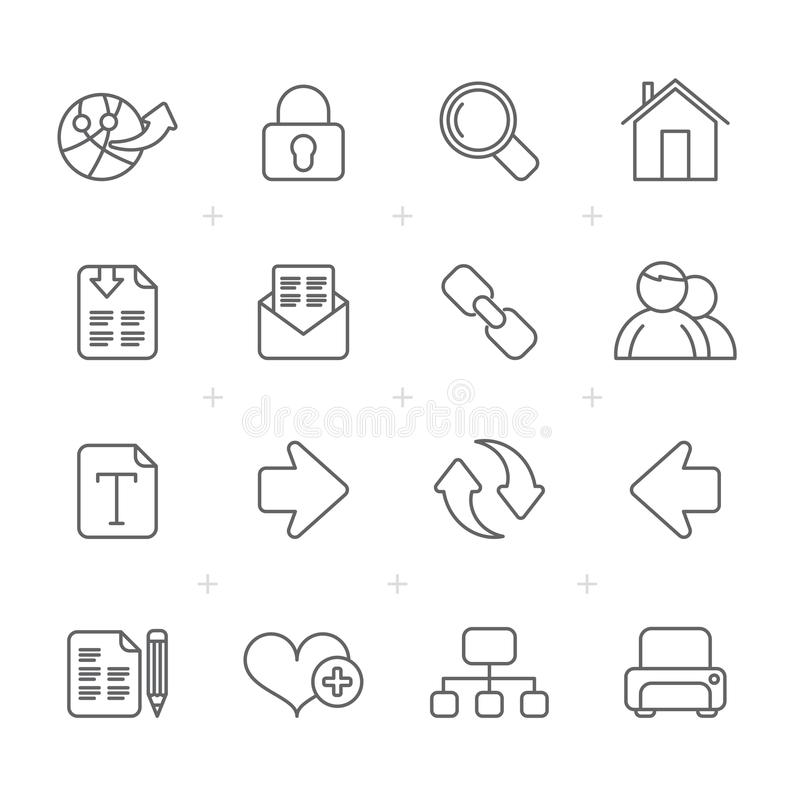 Line Internet and Web Navigation Icons royalty free illustration