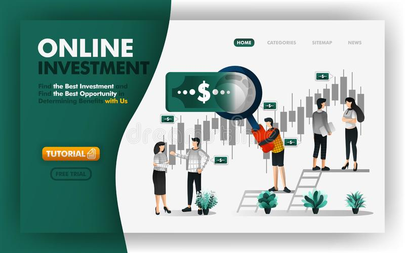 On-line-Investitions- und Bankwesenvektor Illustration Männer mit riesigen Vergrößerungsgläsern geben Ihnen Rat, um rentables inv vektor abbildung