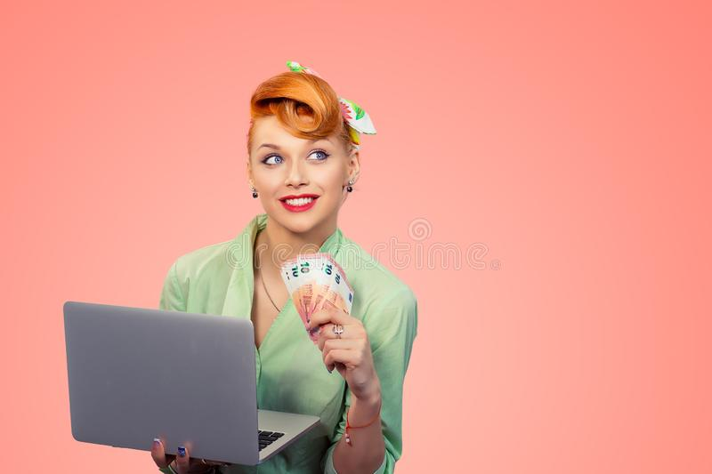 On-line job, internet lottery winner royalty free stock images