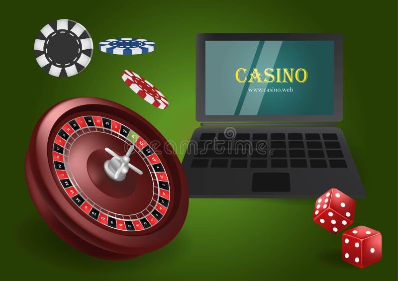On-line-Kasinofahnenkonzept mit Laptop Spielendes Pokerdesign- oder -vermögenskasino Würfel, Chips, Roulettevektorillustration stock abbildung
