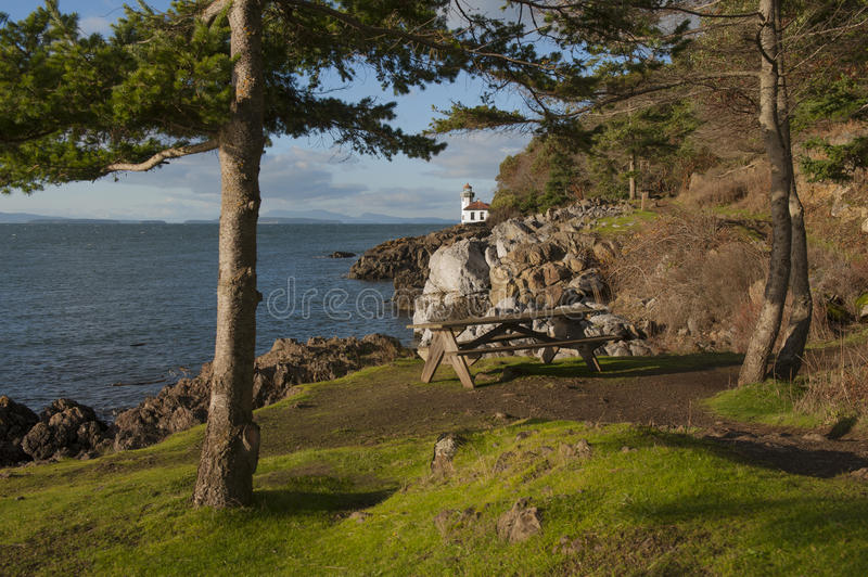 Line Kiln Lighthouse. Located on San Juan Island, in Washington state, It guides ships through the Haro Straits and is part of Lime Kiln Point State Park. It stock images