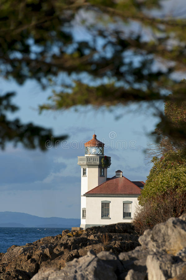 Line Kiln Lighthouse. Located on San Juan Island, in Washington state, It guides ships through the Haro Straits and is part of Lime Kiln Point State Park. It stock image