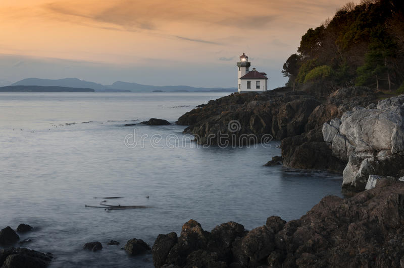 Line Kiln Lighthouse. Located on San Juan Island, in Washington state, It guides ships through the Haro Straits and is part of Lime Kiln Point State Park. It royalty free stock photography