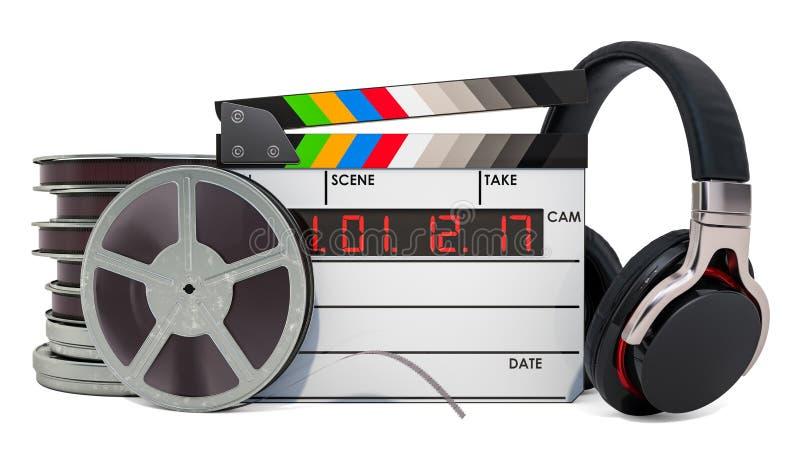 On-line-Kinokonzept Clapperboard, Filmrollen und Kopfhörer, Wiedergabe 3D stock abbildung