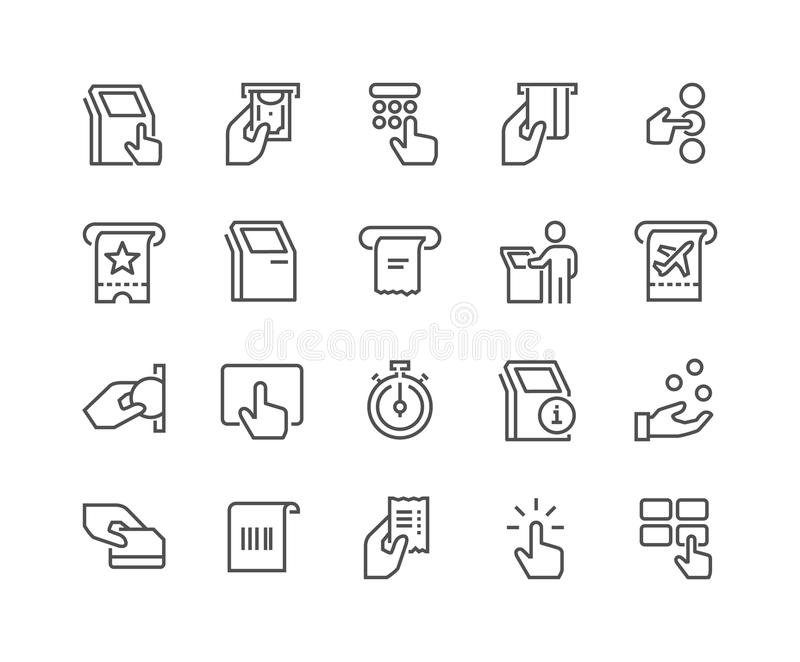 Line Kiosk Terminal Icons. Simple Set of Kiosk Terminal Related Vector Line Icons. Contains such Icons as Choosing Options, Getting receipt, Printing tickets and royalty free illustration