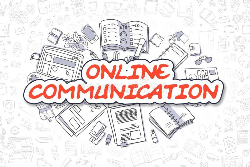 On-line-Kommunikation - Karikatur-Rot-Wort Die goldene Taste oder Erreichen für den Himmel zum Eigenheimbesitze vektor abbildung