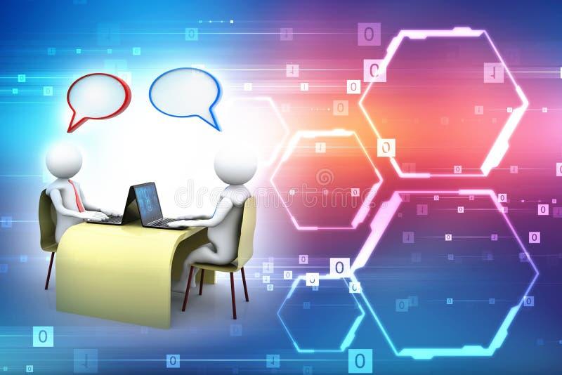 On-line-Kommunikation Plaudern, Geschäftskommunikations-Konzept Wiedergabe 3d lizenzfreie abbildung