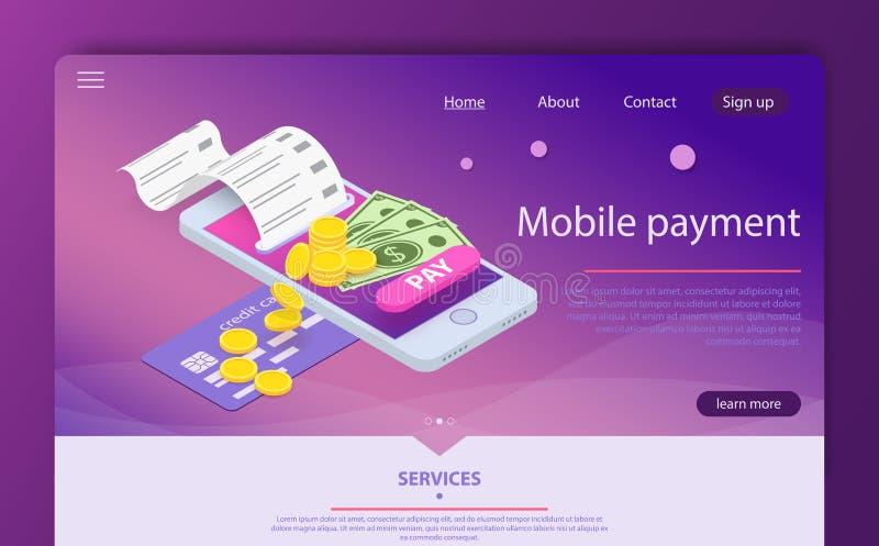 On-line-Konzept der isometrischen Online-Zahlung Geld, das über Smartphone App überträgt stock abbildung