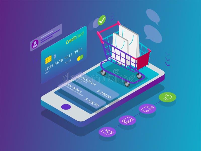 On-line-Konzept des isometrischen intelligenten Telefons Einkaufs Online-Shop, Warenkorbikone Elektronischer Geschäftsverkehr stock abbildung