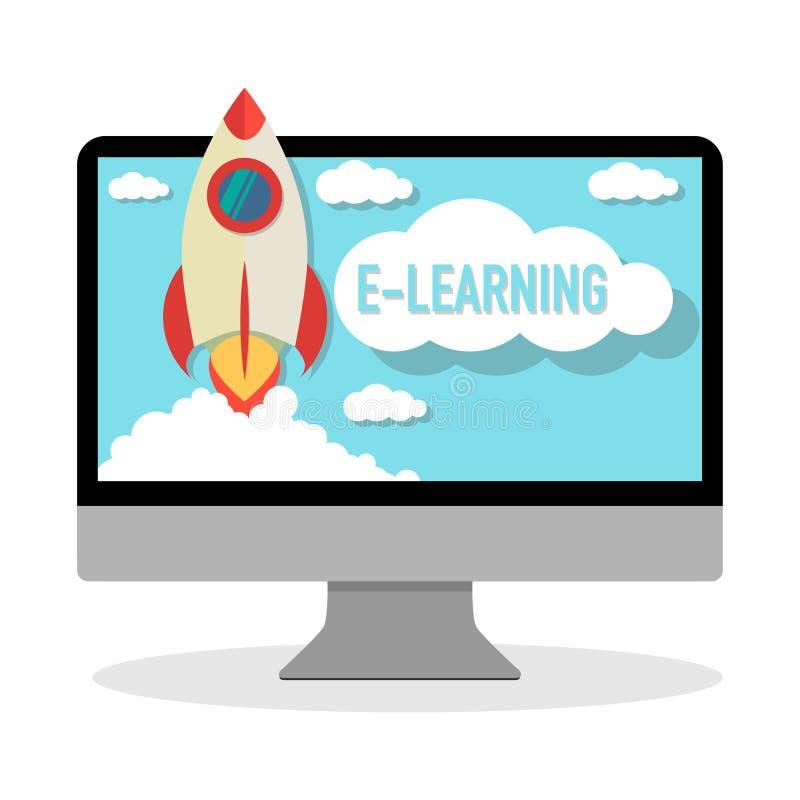 On-line-Kurse-learning-Computer mit Raketenstart lizenzfreie abbildung