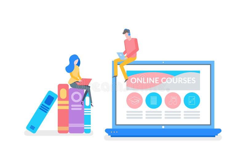 On-line-Kurse Mann und Frau, die für Prüfung sich vorbereiten vektor abbildung