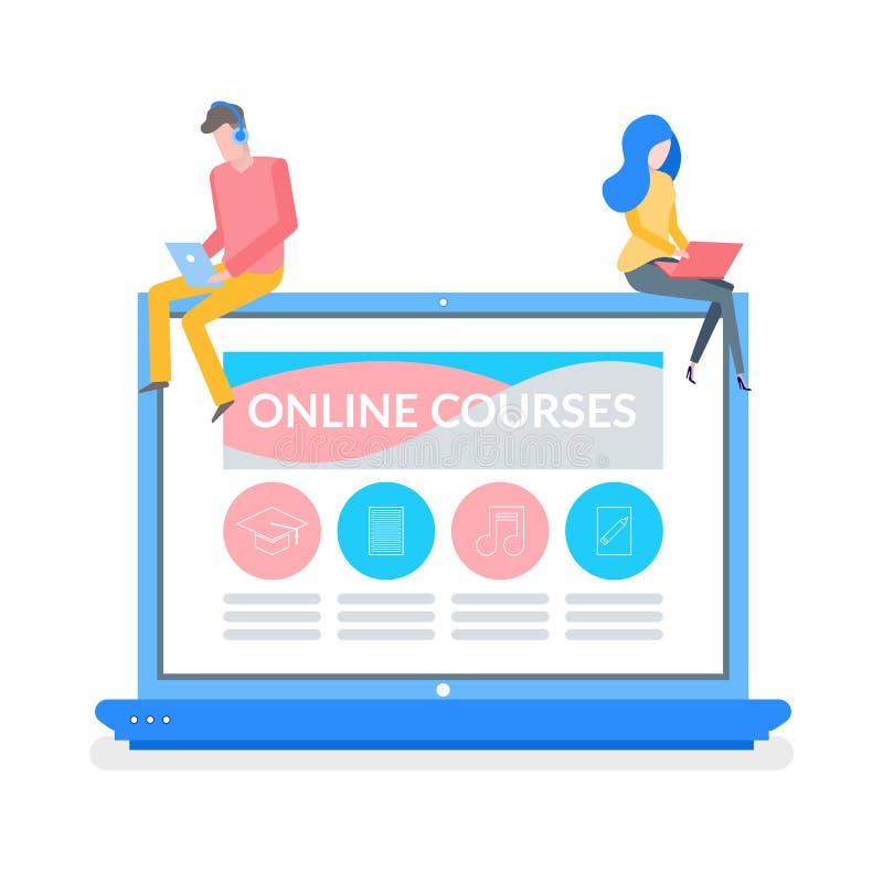 On-line-Kurse Mann und Frauen-Lesematerial vektor abbildung